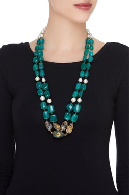 Pearl & onyx bead layered necklace