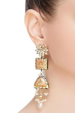 Meenakari pearl drop earrings
