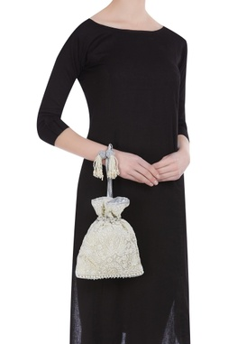 Pearl grey embroidered  potli bag