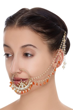 Statement nose ring with kundan & pearls