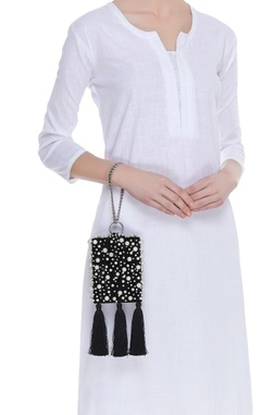 Pearl embellished square box clutch