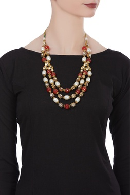Pearl & polki bead long necklace