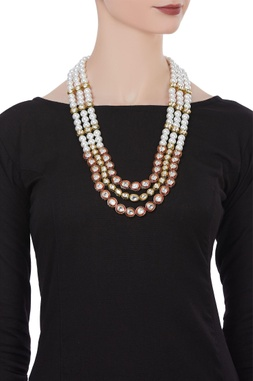 Pearl & kundan work tiered necklace