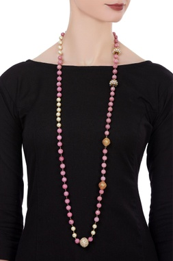 Beaded long statement necklace