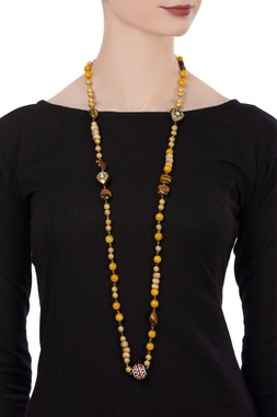 Multi-faceted bead long necklace
