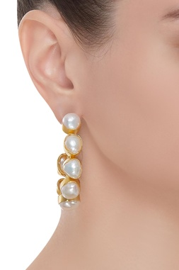 Beach pearl encrusted hoop earrings