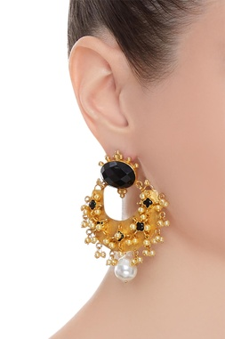 Black stones statement earrings