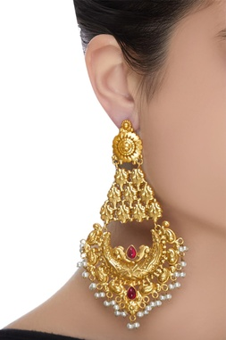 Embellished chaandbali dangler earrings