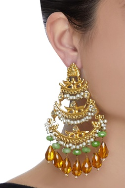 Embellished hexa sparkle earrings