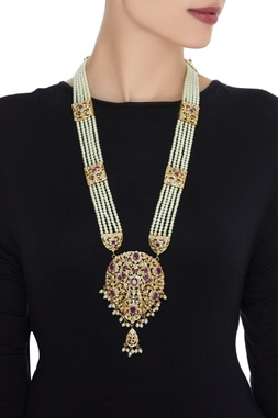 Gold plated necklace with kundan work
