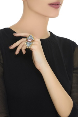 Triangular design embellished finger ring