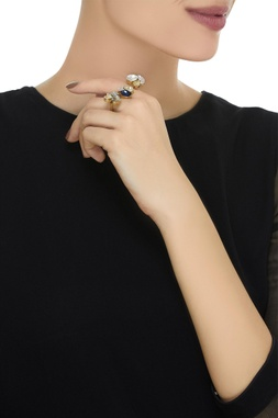 Floral & stone embellished double finger ring
