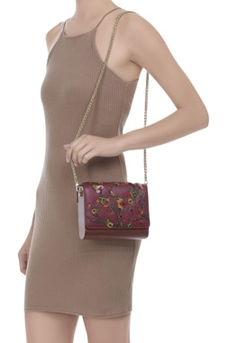 Cutdana embroidered sling bag