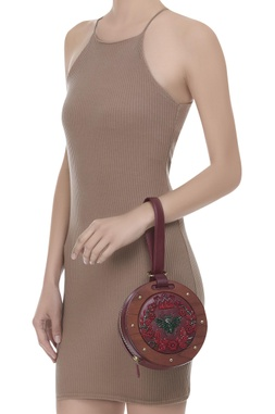 Cutdana embroidered bag with belt