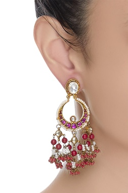 Kundan earrings with coral beads