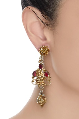 Gold earrings with embossed God figure