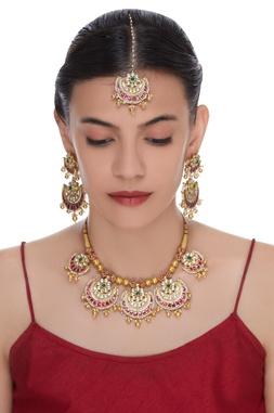 Half Moon Stones & Kundan Necklace Set
