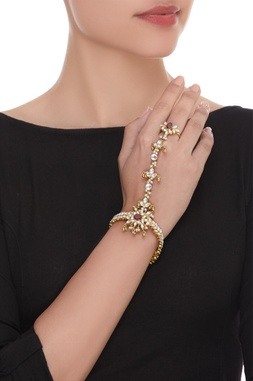 Petal stone encrusted hand harness