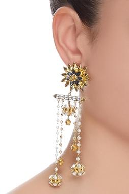 Tiered kundan drop earrings