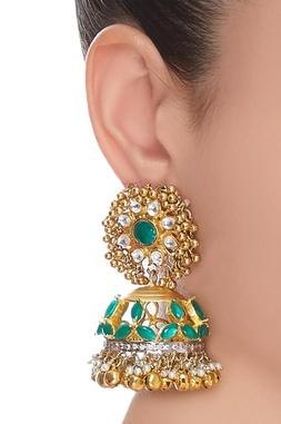 Baby pearls & stone encrusted jhumkas
