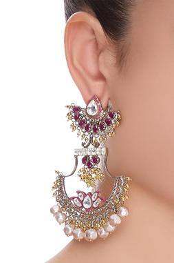 Kundan, jaal work & pearl earrings