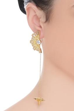 White stone centered earrings