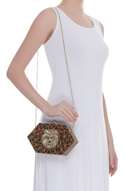 Sequin embroidered sling bag