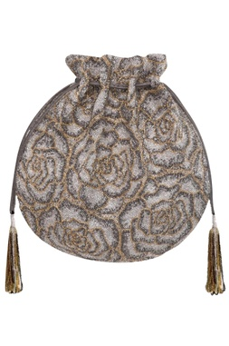 Embroidered Potli With Wristlet Handles