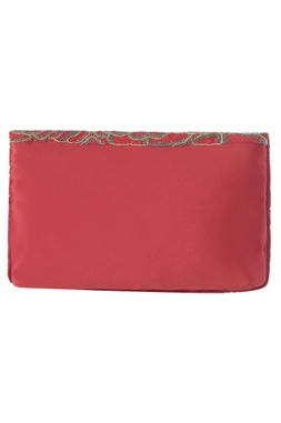 Flapover Embroidered Clutch