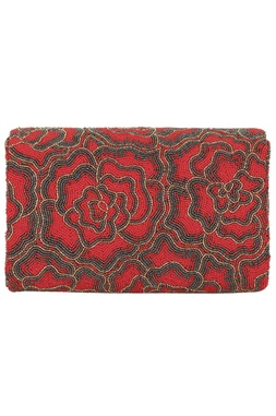 Hand Embroidered Flapover Clutch