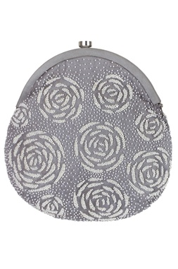 Bead Embroidered Clasp Open Clutch