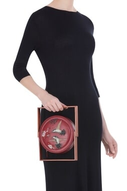 Bead embellished circular box clutch