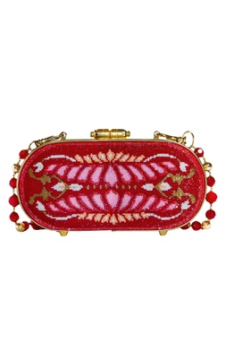 Japanese Beads Embroidered Metal Clasp Clutch