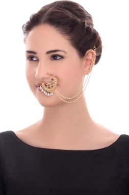 Gold finish studded nose ring with chain