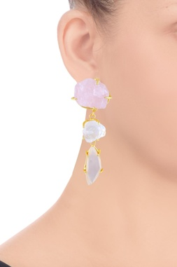 Light pink, ivory beige semi-precious stone earrings