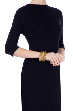 Gold plated statement wide bangle