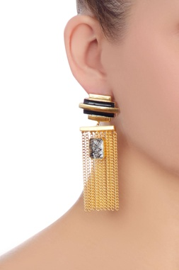 Black & gold striped earrings with chain