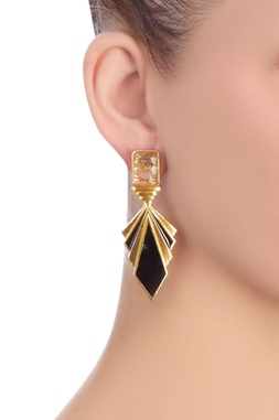 Black & gold layered earrings