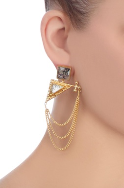Black & gold stone earrings with chains