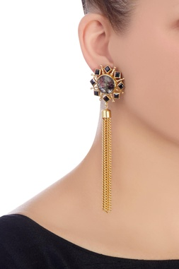 Gold & black earrings with gold chains