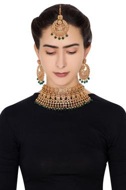 Kundan work necklace with earrings & maangtikka
