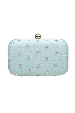 Blue zardosi embroidered box clutch