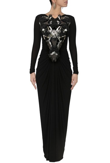 Latest Collection of Black embellished maxi dress by Amit Aggarwal