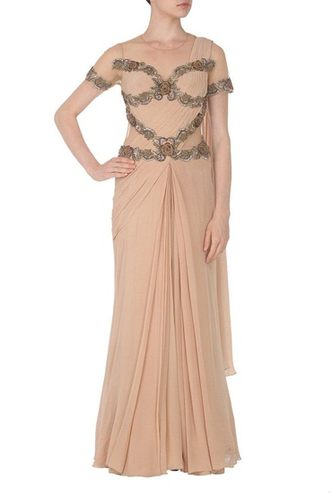 Latest Collection of Beige embroidered sari gown by Sonaakshi Raaj