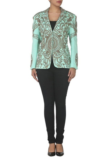 Latest Collection of Aqua embroidered blazer by Sonaakshi Raaj