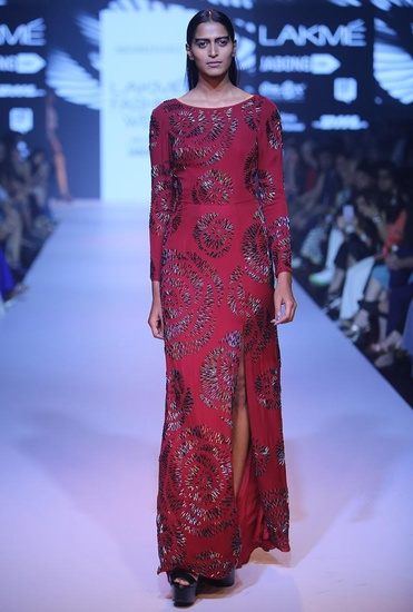 Latest Collection of Marsala rose beaded gown by Nachiket Barve