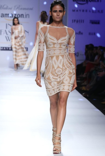 Latest Collection of Ivory embroidered nude dress by Malini Ramani