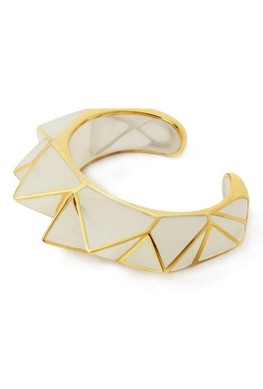Latest Collection of White pyramid luxe cuff by Isharya
