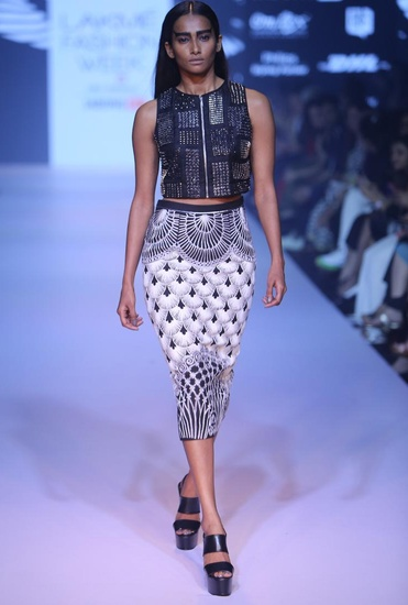 Latest Collection of White gothic pencil skirt by Nachiket Barve