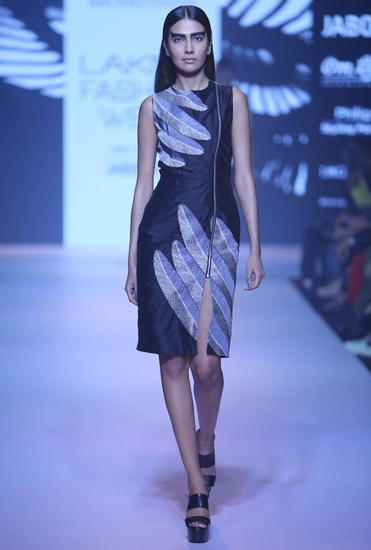 Latest Collection of Black feather zipper dress by Nachiket Barve